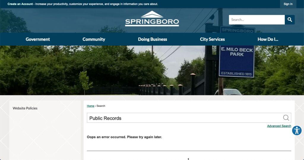 Springboro's website