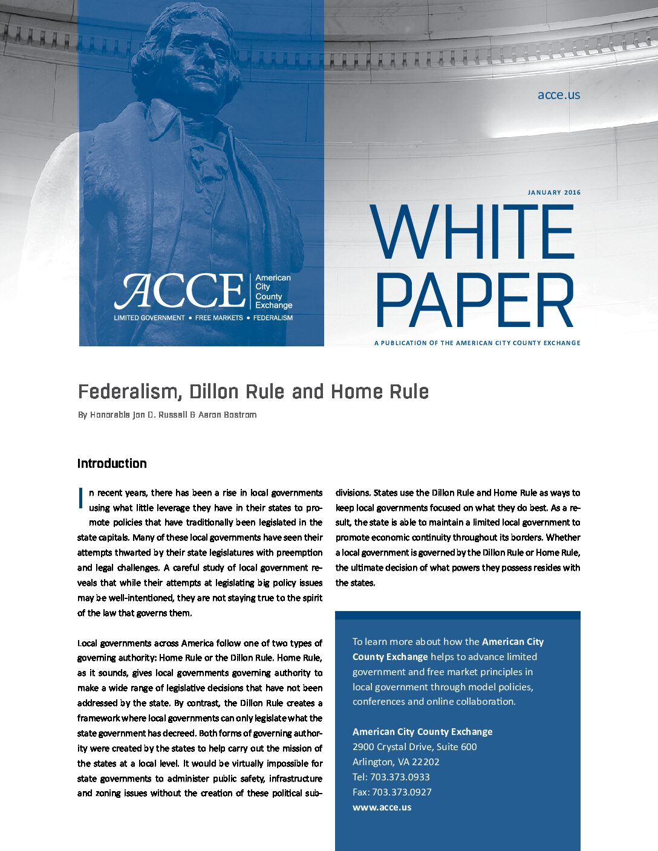ACCE White Paper: Home Rule v. Dillon Rule