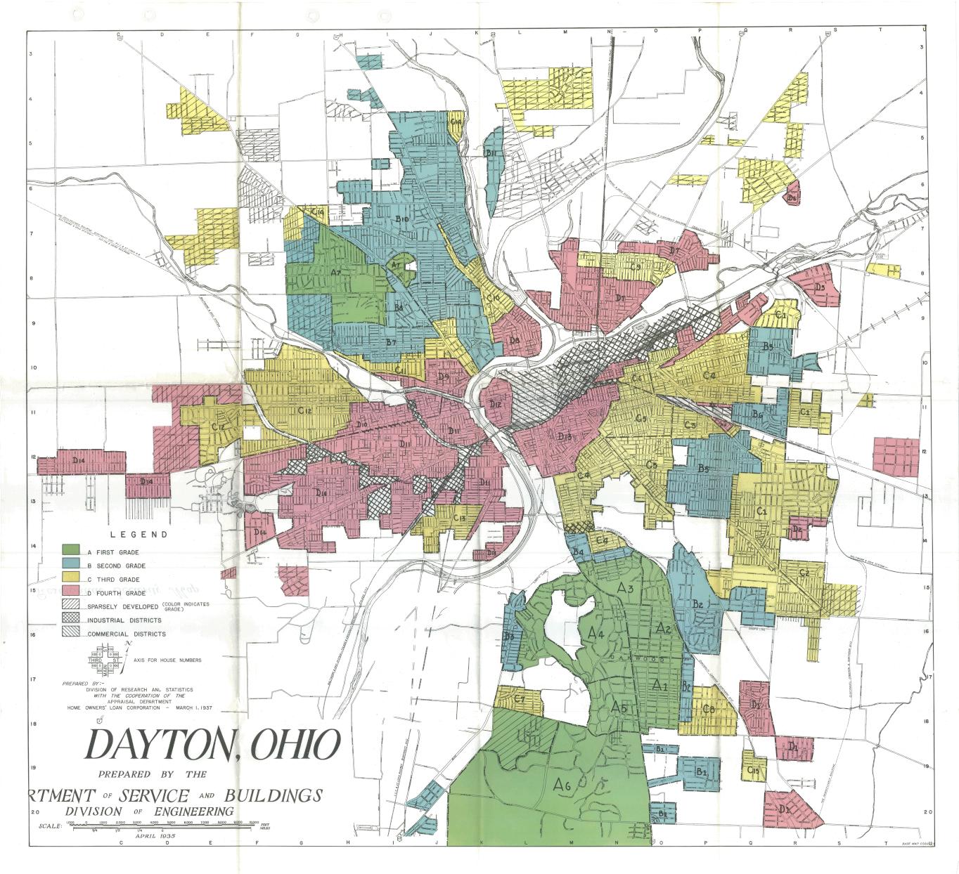 Historic Map of Redlining in Dayton