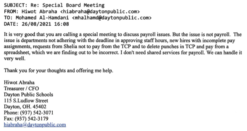 E-mail from Hiwot Abraha questioning the necessity of the SRC contract