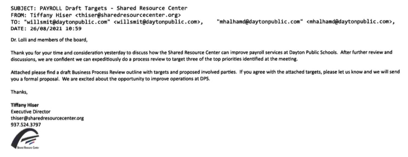 E-Mail from Tiffany Hiser to DPS Board